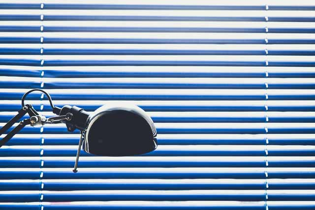 Blue Window Blinds with lamp
